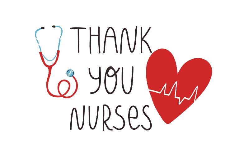 Thank you nurses text with a heart next to it