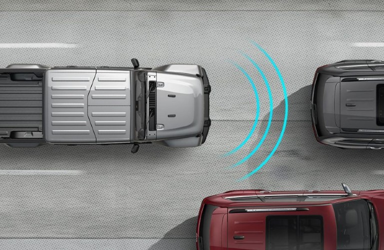 Diagram showing how the Forward Collision Warning w/Active Braking system works in the 2020 Jeep Gladiator