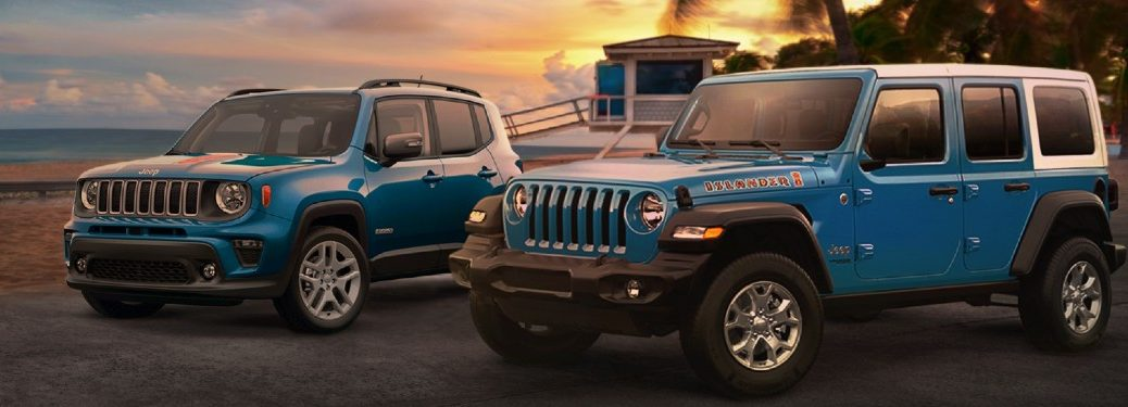 2021 Jeep Wrangler and Renegade Islander Special Edition models parked next to each other