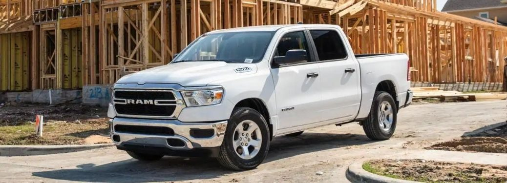 White 2021 Ram 1500 at a Construction Site