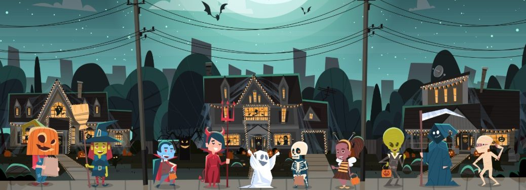 Halloween graphic showing multiple trick or treaters in costumes on the sidewalk