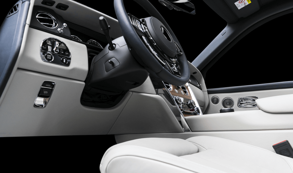 Car interior from drivers seat