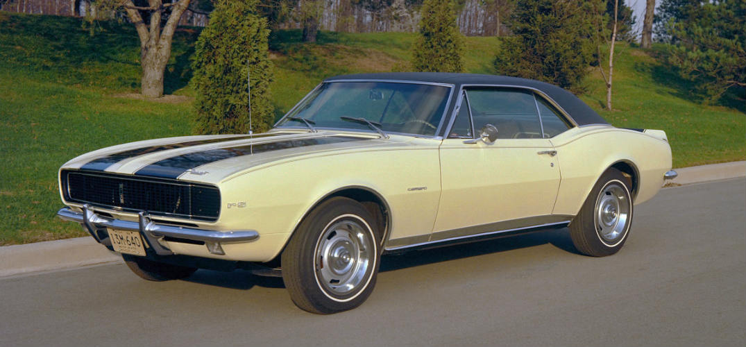 1967 Chevy Camaro in pale yellow