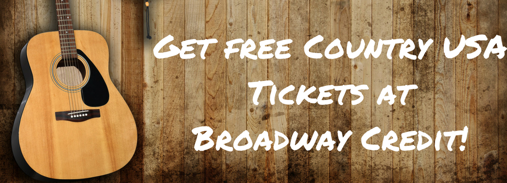 "guitar next to wood background with white text ""get free country usa tickets at broadway credit!"""