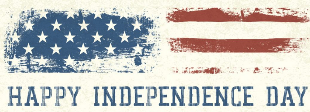"""distressed art of american flag over white background with """"happy independence day"""" blue text underneath it"""