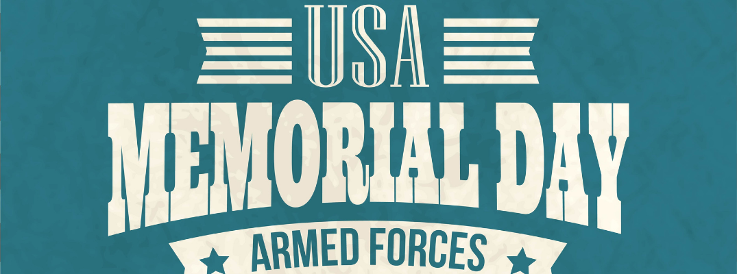 "large blue and white banner with text ""usa memorial day armed forces"""