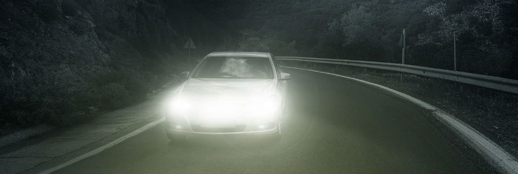 Driving at night with headlights