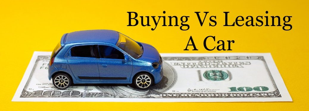 "Blue toy car on top of a $100 bill on a yellow background with the text ""Buying vs leasing a car"""