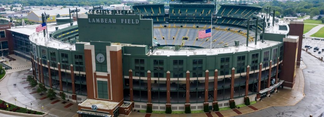 View of the outside of Lambeau Field in Green Bay