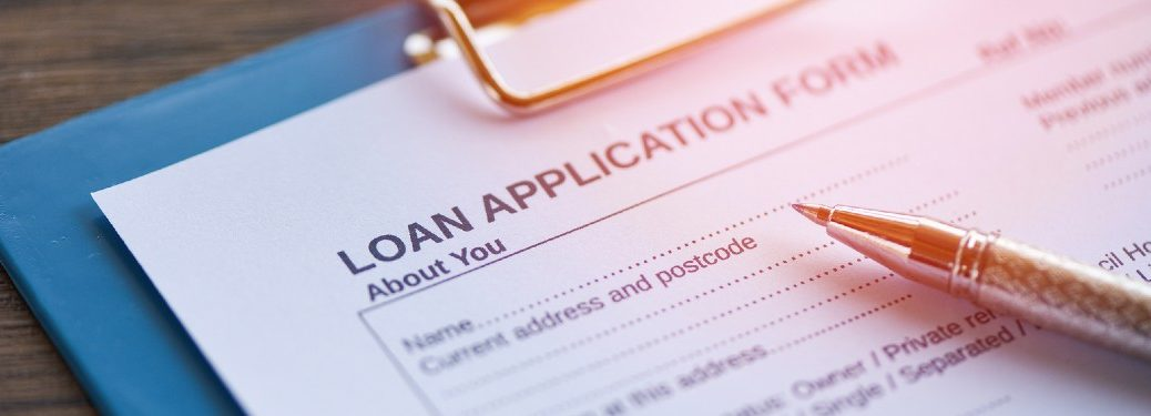 Close up of a loan application form
