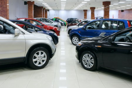 Cars in a showroom at a dealership