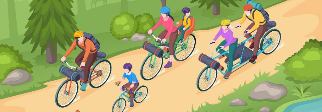 Graphic showing a family biking on a trail