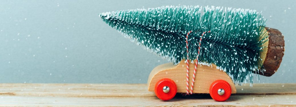 Toy car with a toy tree tied to its roof