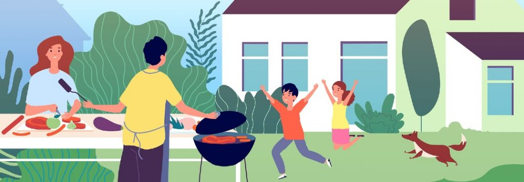 Graphic of a family enjoying time outside