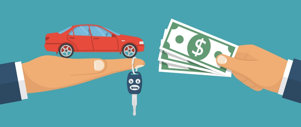 Diagram of a car in a hand and money in a hand