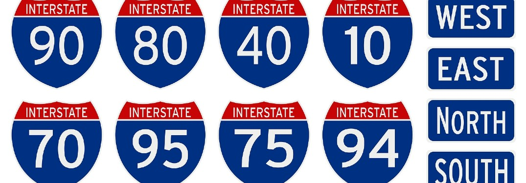 Meaning of the numbers on an Interstate Highway sign