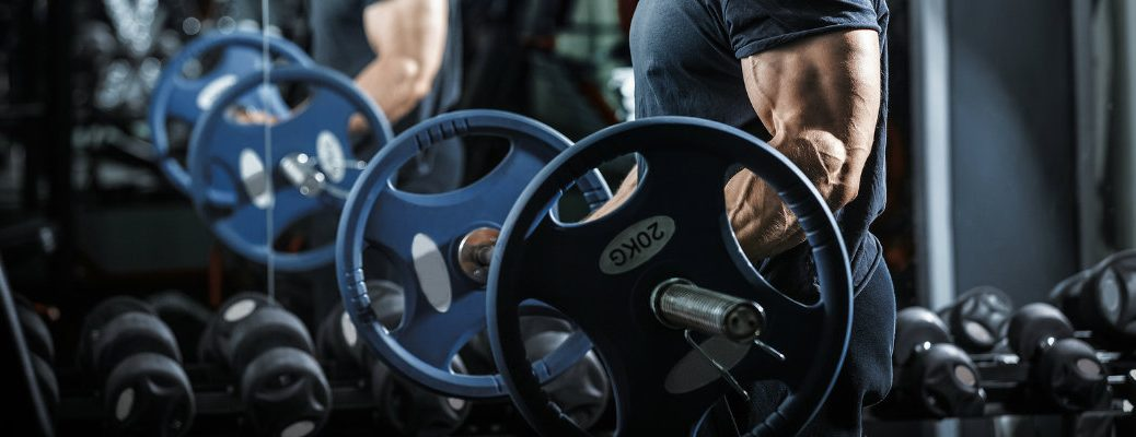 Man doing curls in gym with 20 kilogram plates on either side of barbell