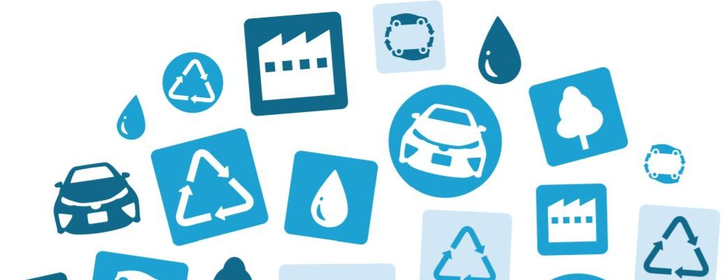 Cars recycling symbols and water droplets