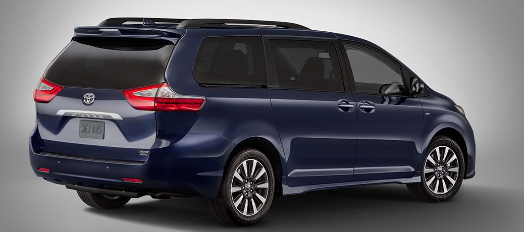Blue 2018 Toyota Sienna Parked in a showroom