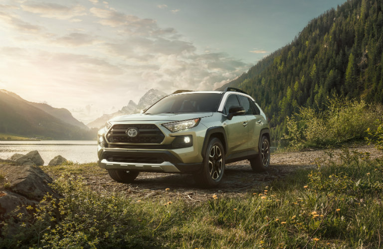 Silver RAV4 in grass with water and mountain in background