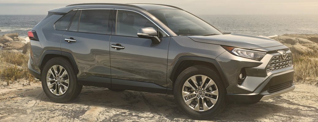 Profile view of 2019 Toyota RAV4 parked in desert landscape