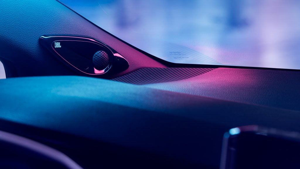 Front dashboard and speaker of 2020 Toyota Corolla Hybrid