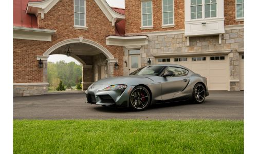 2020 Toyota GR Supra in front of a brick building