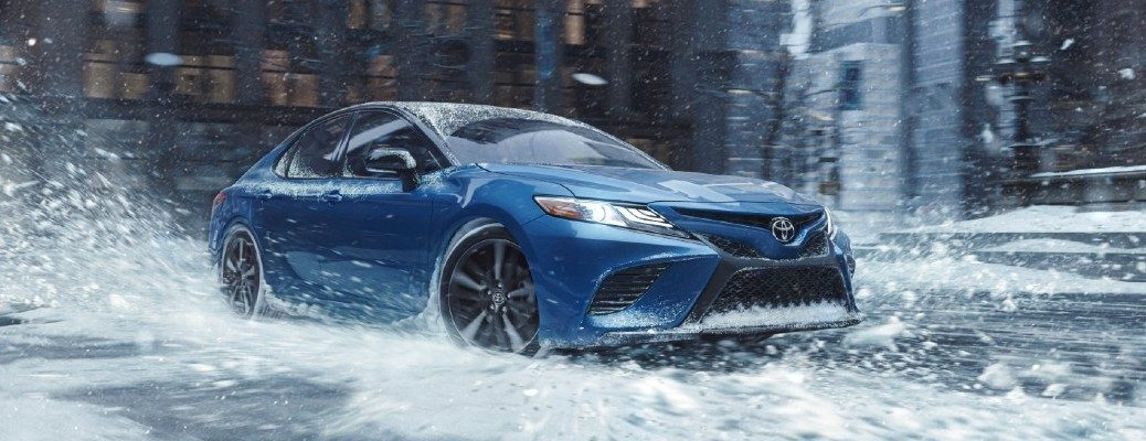 2020 Toyota Camry driving in the snow