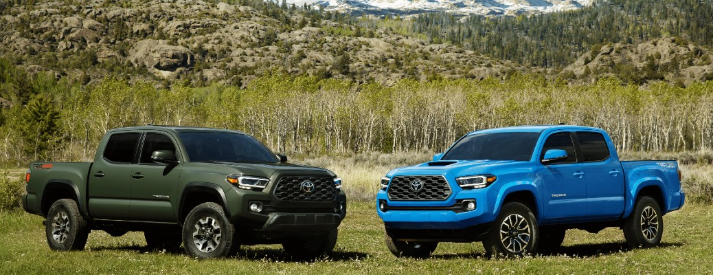 two 2021 Toyota Tacoma models parked next to each other