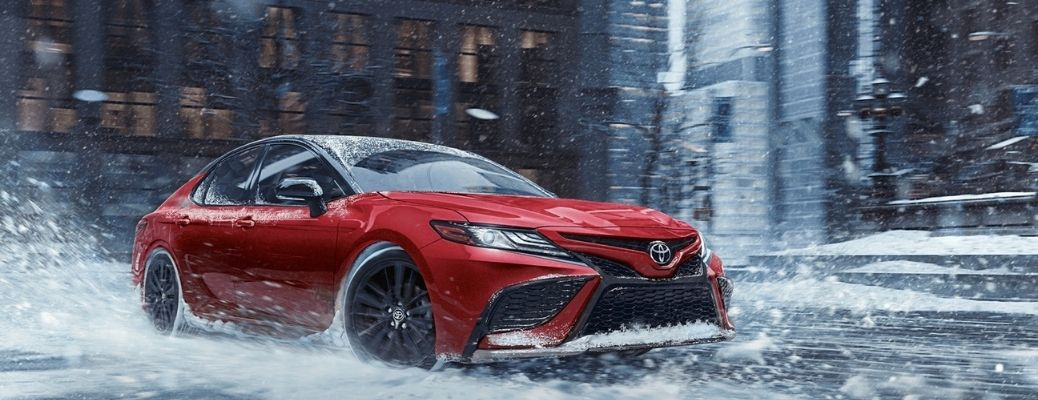 2021 Toyota Camry driving on sand and ice