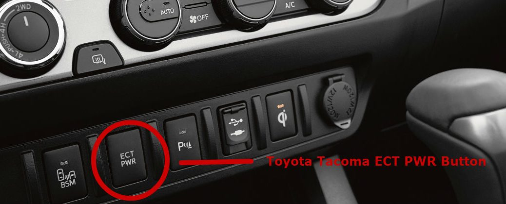 How Does the Toyota ECT Button Work? at J. Pauley Toyota-Fort Smith AR-2016 Toyota Tacoma Interior Center Console ECT PWR Button