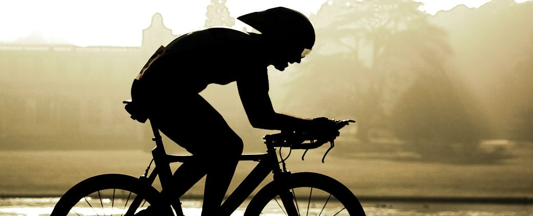 Silhouette of Cyclist on a Bike Trail