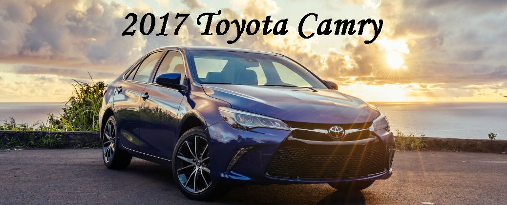 Blue 2017 Toyota Camry Front Exterior With Sunset Background