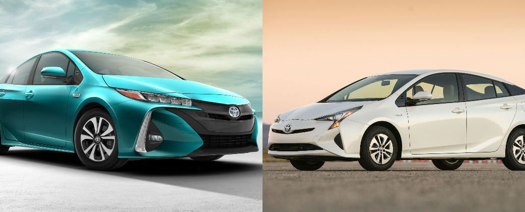 Green 2017 Toyota Prius Prime Next To White 2016