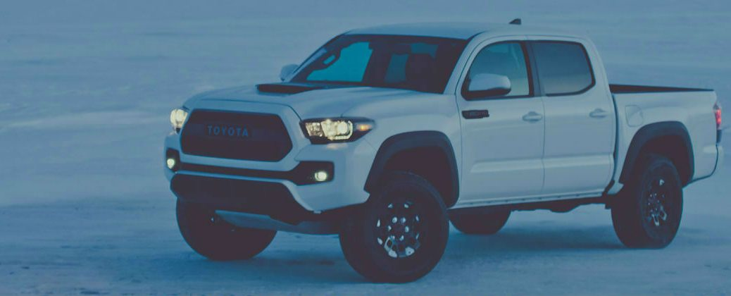 Super White 2017 Toyota Tacoma Trd Pro At Night On Snow