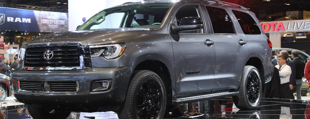 Gray 2018 Toyota Sequoia Trd Sport Front And Side Exterior On Stage At 2017 Chicago Auto