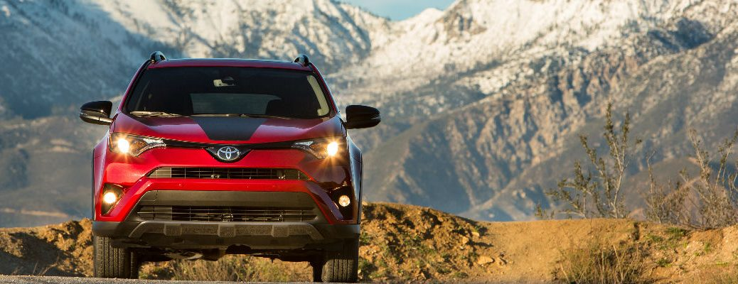 Red 2018 Toyota RAV4 Adventure Front Exterior in Front of Mountains