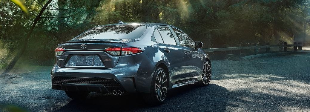 2020 Toyota Corolla parked on a forest trail