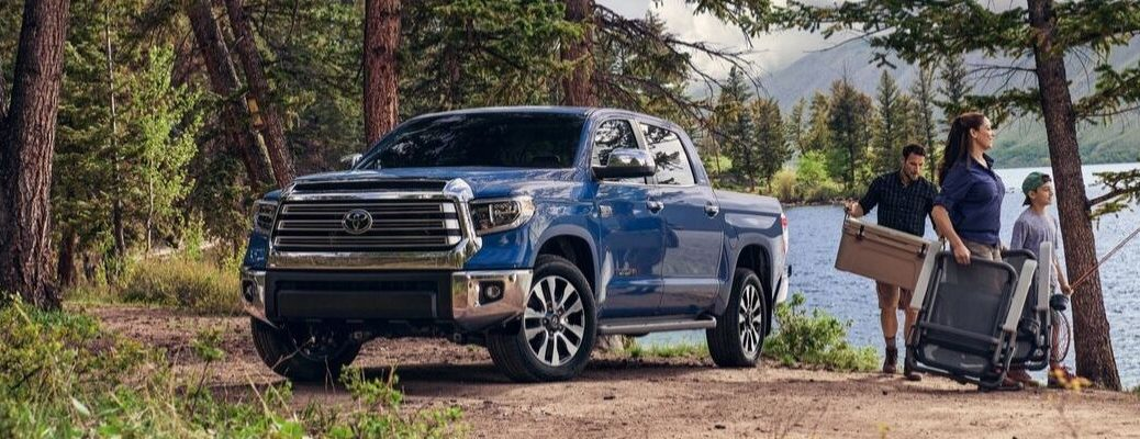 2020 Toyota Tundra parked in front of a lake