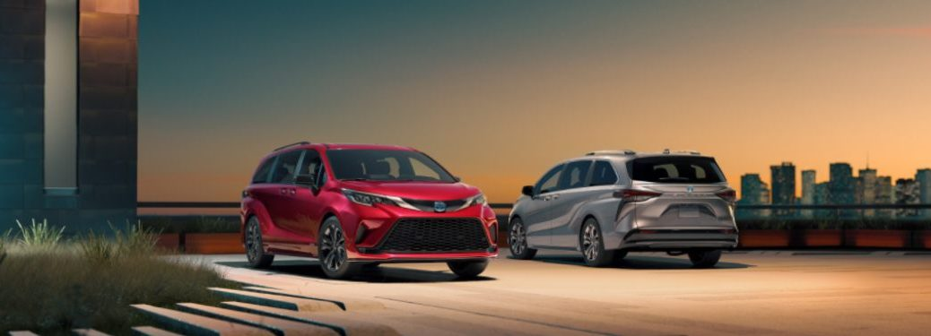 Two 2021 Toyota Sienna models parked in a parking lot