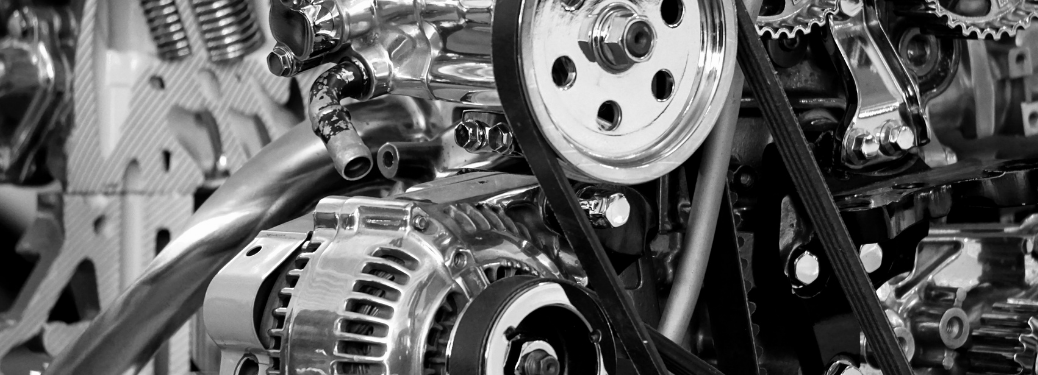 Close-up on a vehicle's engine components