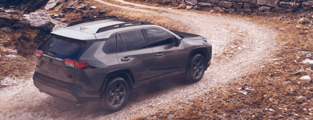 2021 Toyota RAV4 (Gray) on a mountain road. What is the gas mileage of the 2021 Toyota RAV4?
