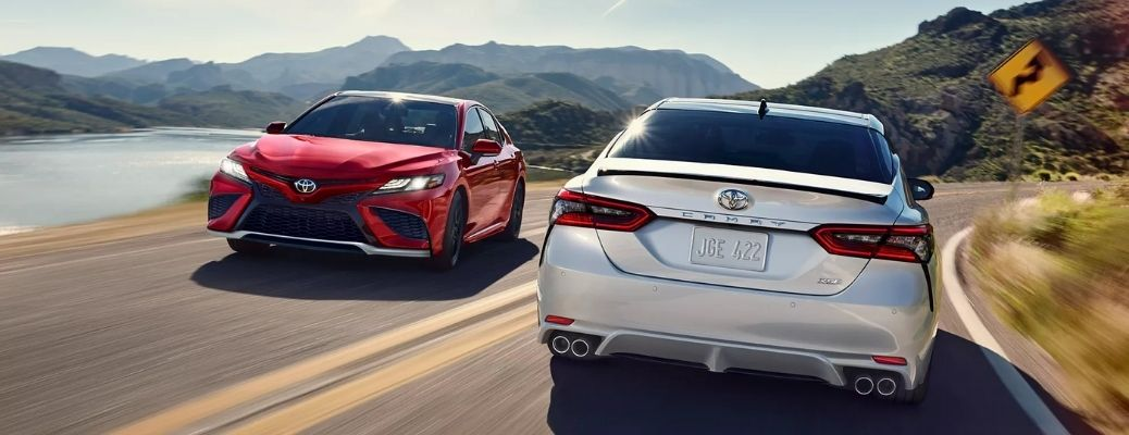 Two 2022 Toyota Camry Vehicles cruising on a road. WHat are the engine specifications?