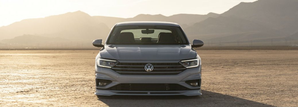 2019 VW Jetta S exterior front fascia in desert with mountains behind it