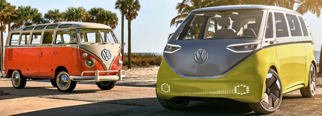 VW ID BUZZ and Microbus exteriors front fascia and passenger side drivers side with palm trees