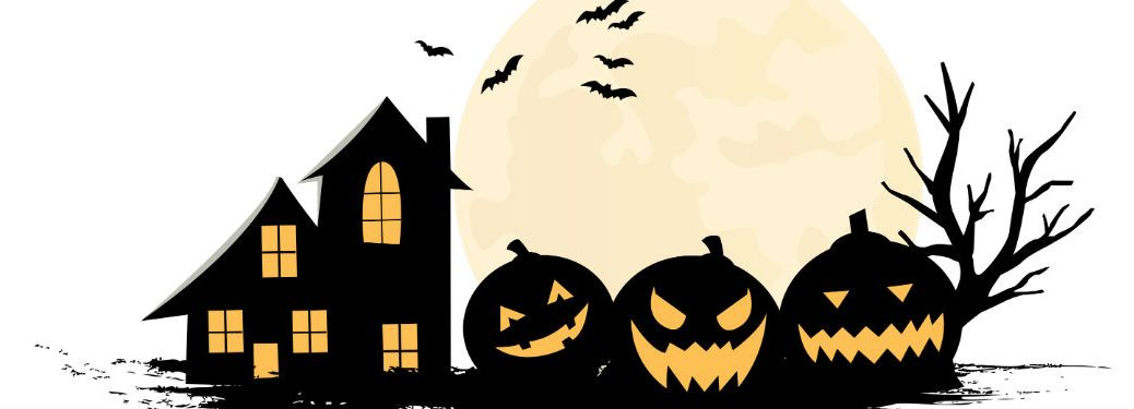 Creepy jack-o-lanterns next to tall house trees and bats against yellow moon and white background