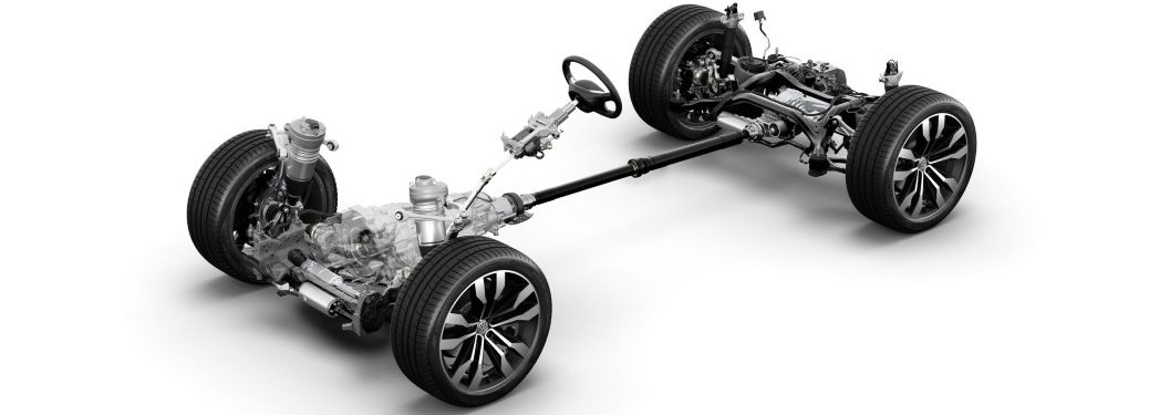 Volkswagen 4MOTION AWD drivetrain on a white background