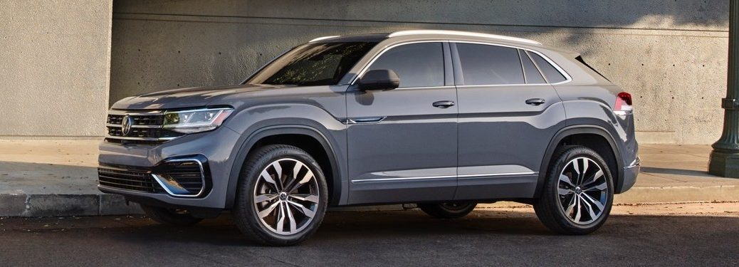 Front driver angle of a grey 2020 Volkswagen Atlas Cross Sport