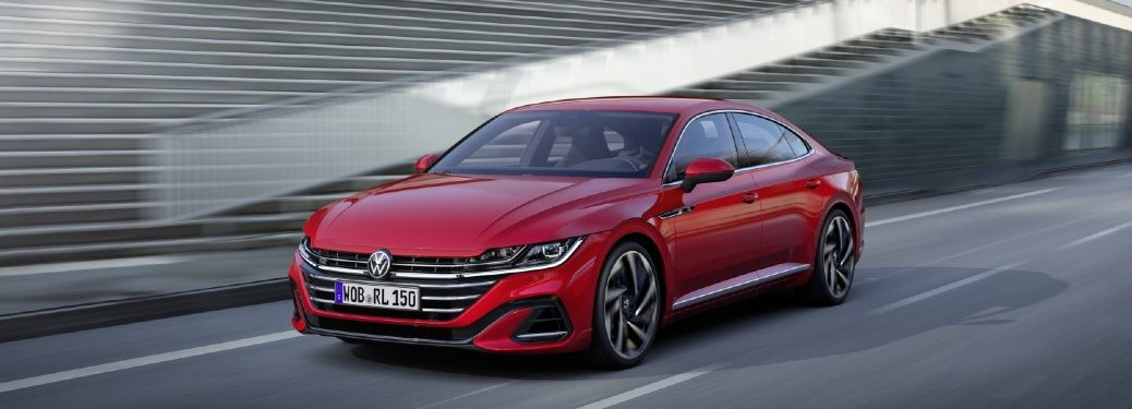 Front driver angle of a red 2021 Volkswagen Arteon