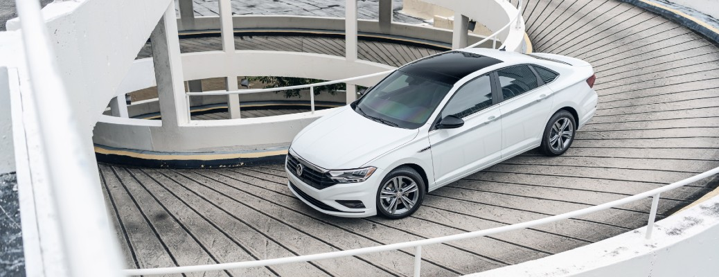 Overhead view of white 2020 Volkswagen Jetta